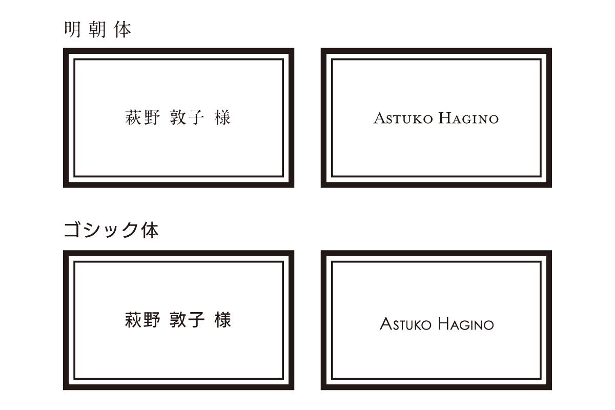席札に印字する書体について